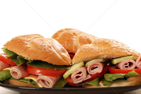 сэндвич продовольствие красный мяса завтрак Сток-фото © goce