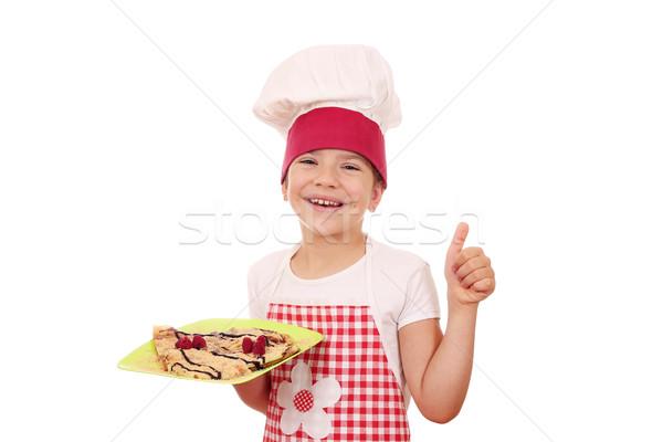 Feliz little girl cozinhar polegar para cima sorrir Foto stock © goce