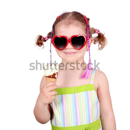 little girl with watermelon ice cream and sunglasses Stock photo © goce