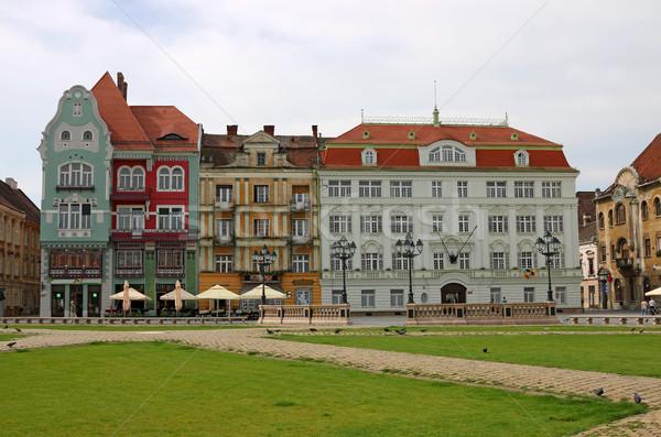 Union square with old colorful buildings Timisoara Romania Stock photo © goce