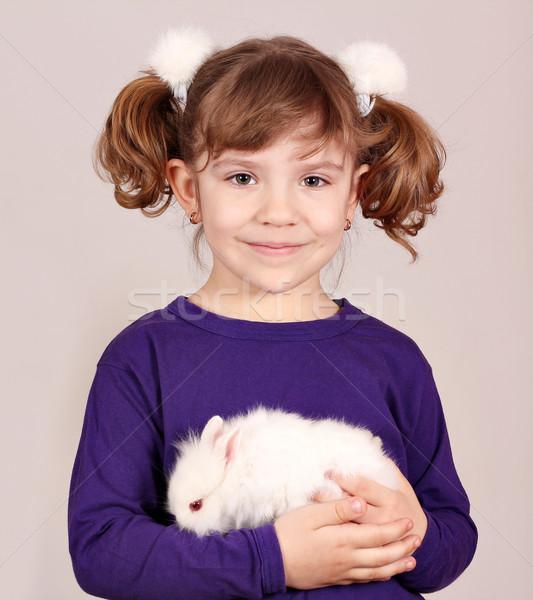 Kislány tart törpe nyuszi díszállat gyermek Stock fotó © goce