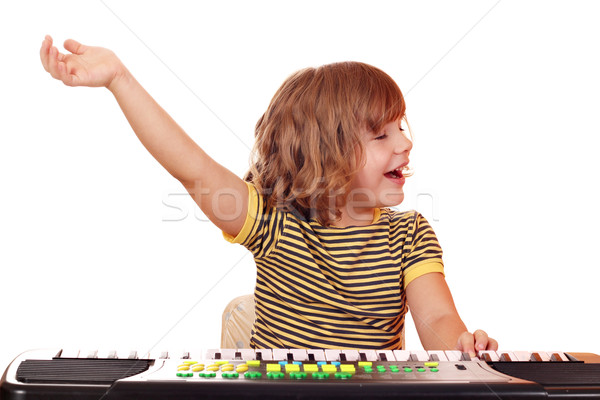 little girl play music on keyboard Stock photo © goce