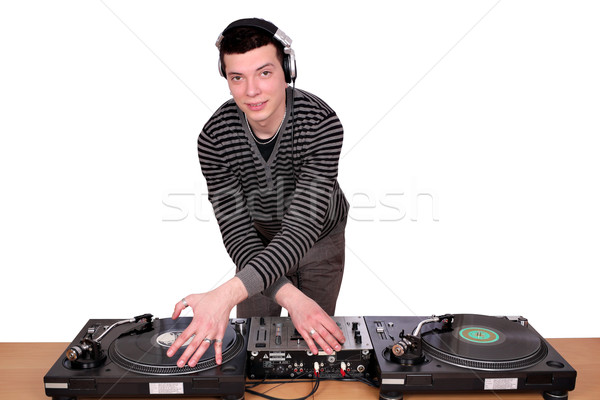 dj with turntables on white  Stock photo © goce