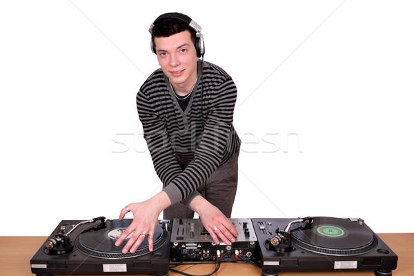 Turntable beyaz müzik disko eğlence genç Stok fotoğraf © goce