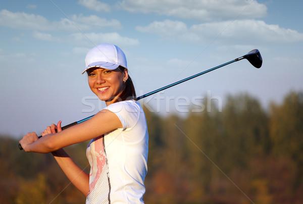 beautiful girl golf player portrait Stock photo © goce