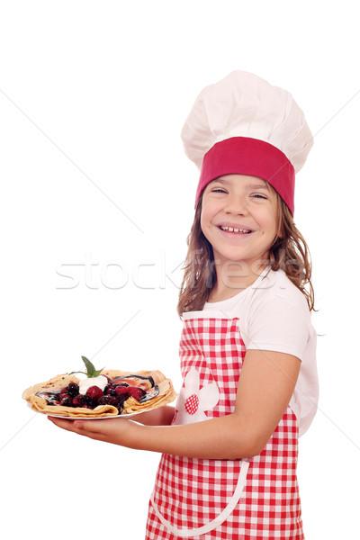 Gelukkig meisje kok heerlijk zoete glimlach Stockfoto © goce