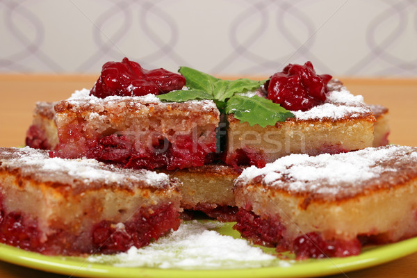 sweet cherry pie on plate close up Stock photo © goce