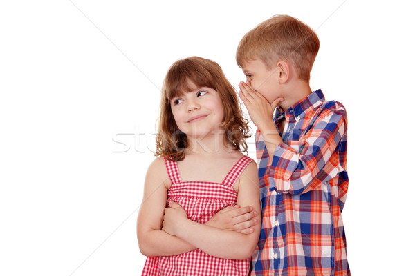 boy whispering a secret little girl on white  Stock photo © goce
