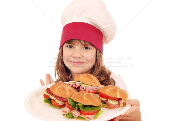little girl cook with sandwiches Stock photo © goce