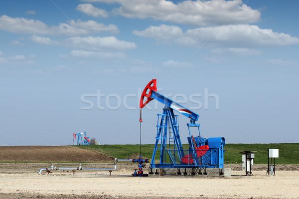 Pompen veld olie-industrie hemel technologie Blauw Stockfoto © goce