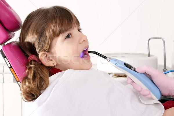 little girl patient in dentist office Stock photo © goce
