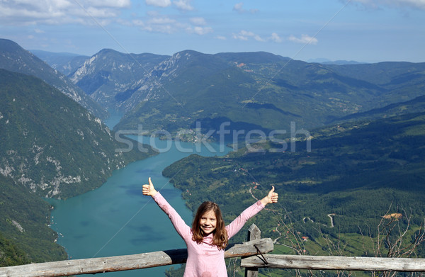 little girl with thumbs up on Tara mountain viewpoint Stock photo © goce