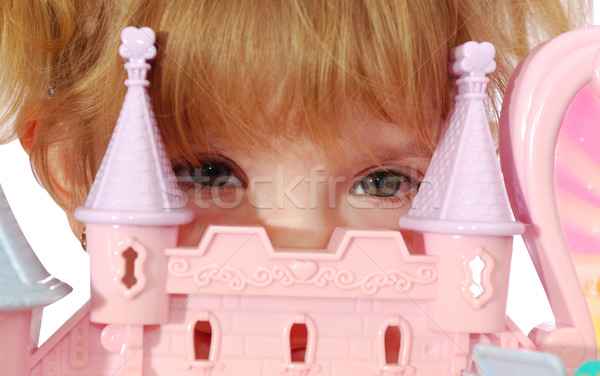 Peu princesse oeil visage enfant amusement Photo stock © goce