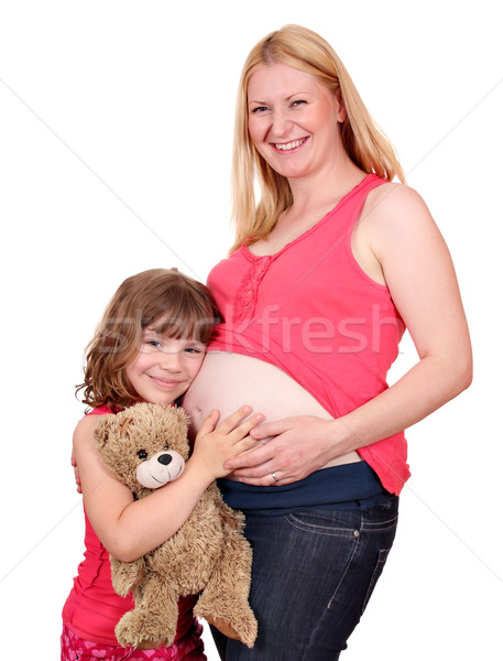 happy pregnant mother and daughter Stock photo © goce
