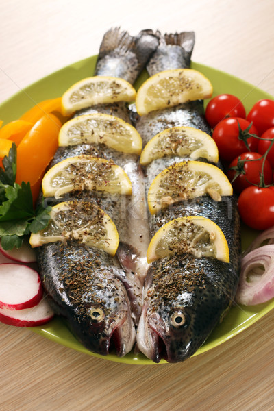 prepared trout fish on plate Stock photo © goce