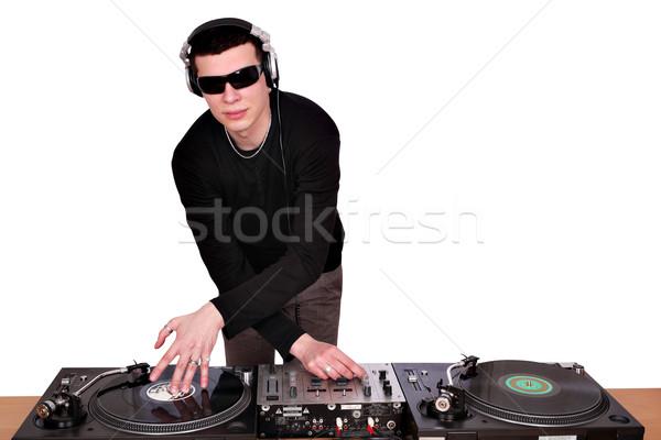 Zonnebril spelen muziek draaitafels leuk jonge Stockfoto © goce