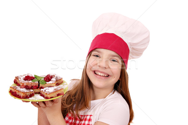happy little girl cook with cherry pie on plate Stock photo © goce