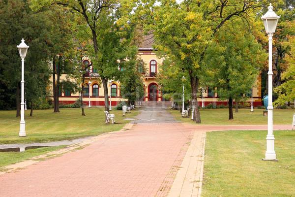Parque Sérvia edifício madeira cidade Foto stock © goce