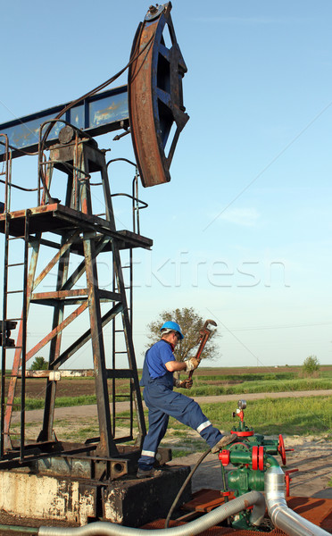 oil worker working on oilfield Stock photo © goce
