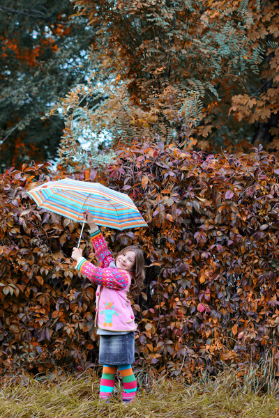 happy little girl with umbrella in park autumn season Stock photo © goce