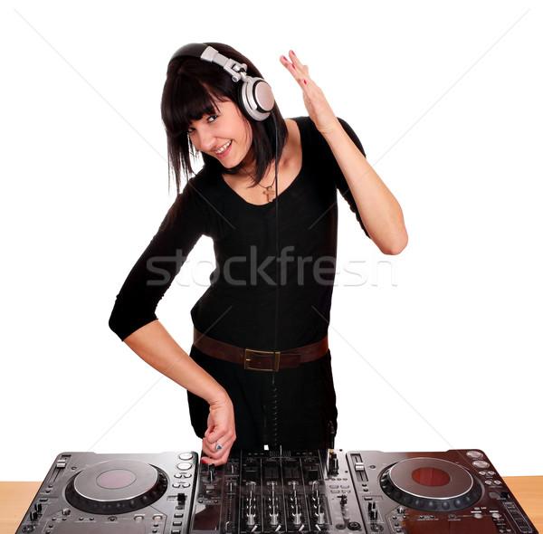 Schöne Mädchen spielen Musik Mädchen Schönheit Kopfhörer Stock foto © goce