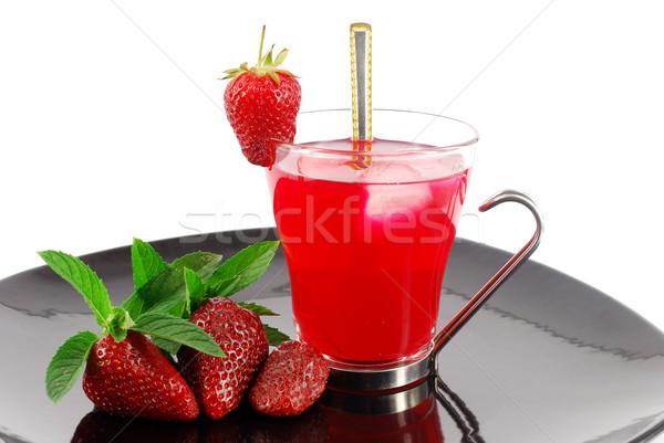 Buzlu çay çilek meyve sağlık yaz içmek Stok fotoğraf © goce