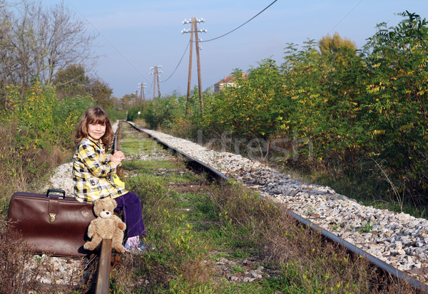 little girl sitting on suitcase and waiting for train Stock photo © goce