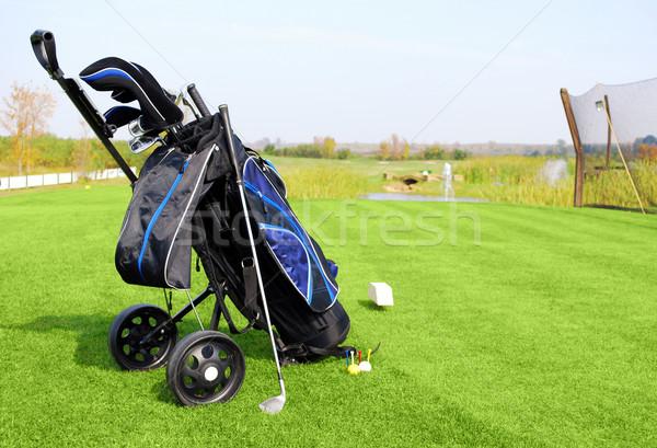 golf field with blue golf bag Stock photo © goce