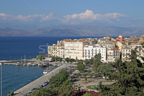 Stock fotó: öreg · kikötő · város · Görögország · égbolt · tájkép