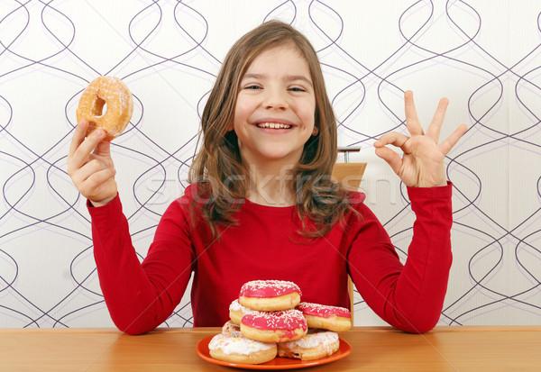 счастливым девочку Sweet вызывать рукой знак Сток-фото © goce
