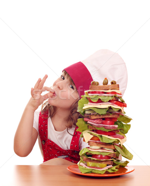 little girl with ok hand sign and tall sandwich Stock photo © goce