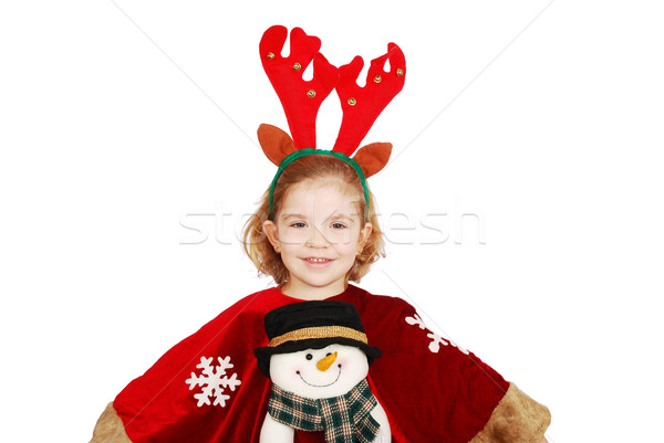 little girl with rudolf deer horn and snowman on dress Stock photo © goce