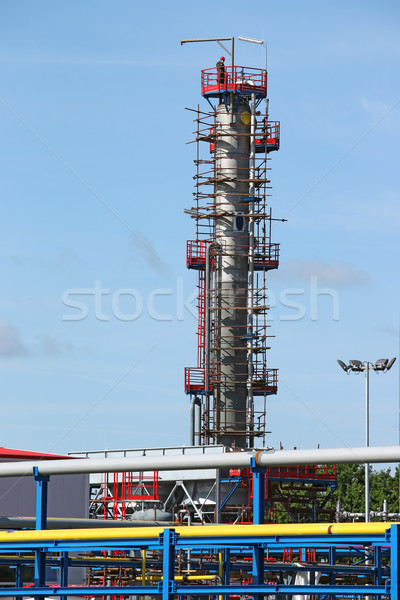 petrochemical plant construction site with worker Stock photo © goce