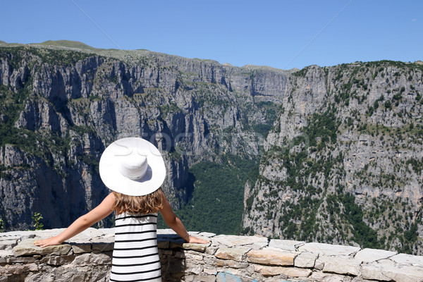 girl on the viewpoint Vikos gorge Greece Stock photo © goce