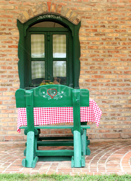Oude huis vintage gebouw muur venster groene Stockfoto © goce