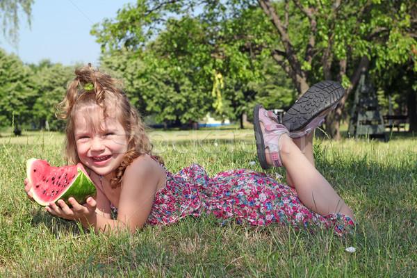Stock fotó: Boldog · kislány · görögdinnye · lány · mosoly · gyermek