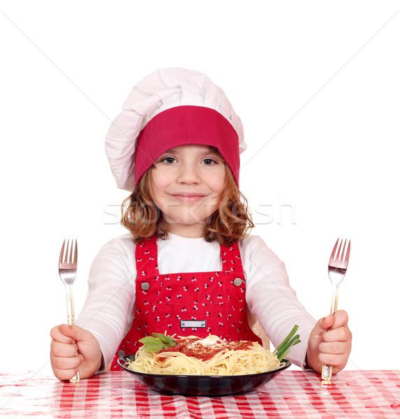 Mooie meisje kok spaghetti lunch glimlach Stockfoto © goce