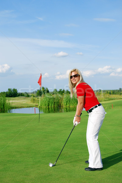 Foto stock: Menina · jogador · de · golfe · sorrir · golfe · beleza · campo