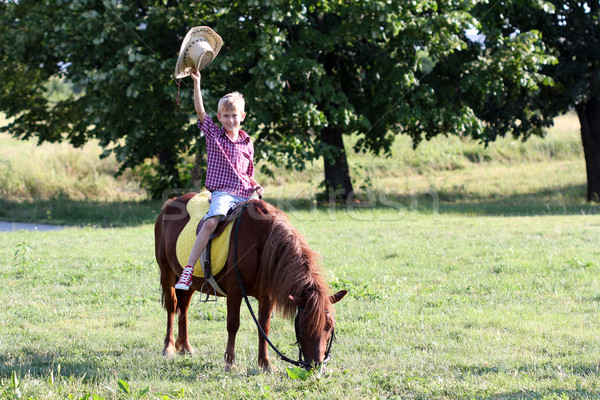 Stock photo: happy boy riding pony horse