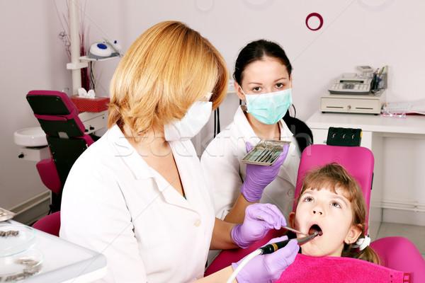 dentist nurse and child dental exam Stock photo © goce