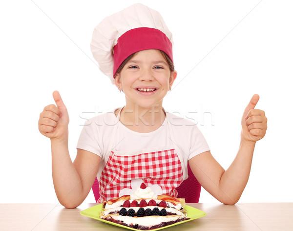 Boldog kislány szakács remek mosoly gyermek Stock fotó © goce