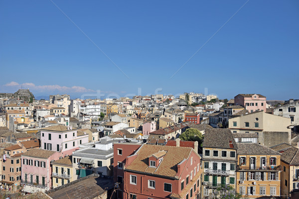 old houses and buildings Corfu town Stock photo © goce