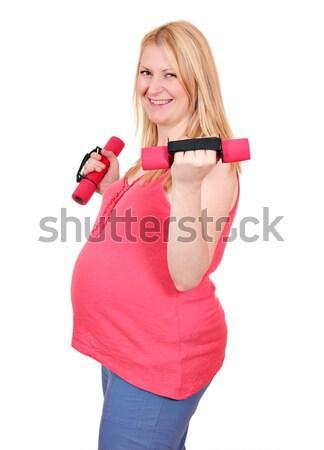 беременная женщина осуществлять гантели девушки женщины счастливым Сток-фото © goce