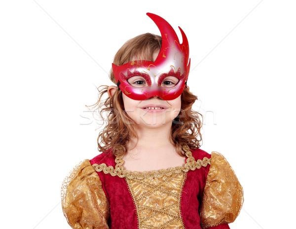 Küçük kız tiyatro aktris maske çocuk eğlence Stok fotoğraf © goce