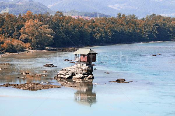 Ev kaya nehir Sırbistan manzara su Stok fotoğraf © goce