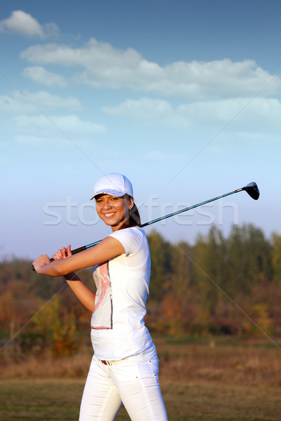 beautiful girl golf player on field Stock photo © goce