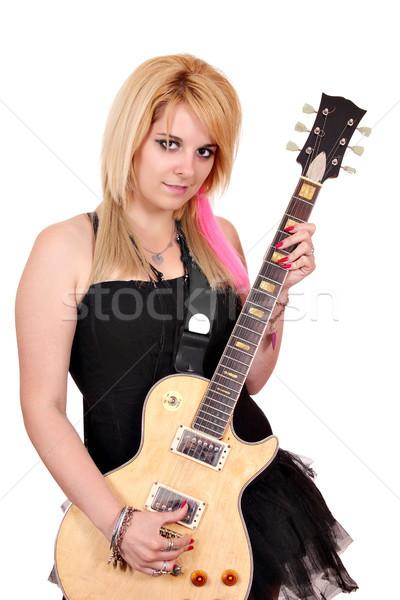 beautiful teenage girl with electric guitar Stock photo © goce