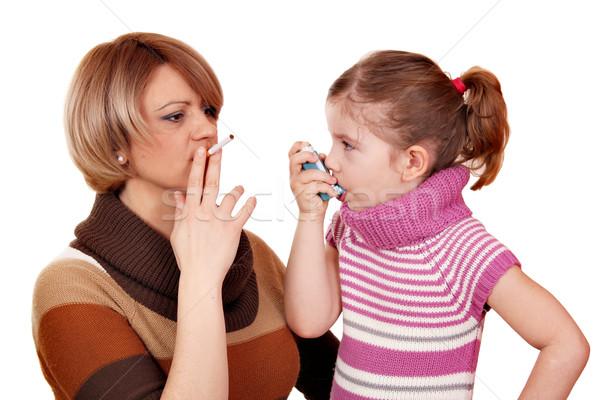 Donna sigaretta bambina asma ragazza bambino Foto d'archivio © goce