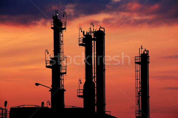 petrochemical plant silhouette twilight Stock photo © goce