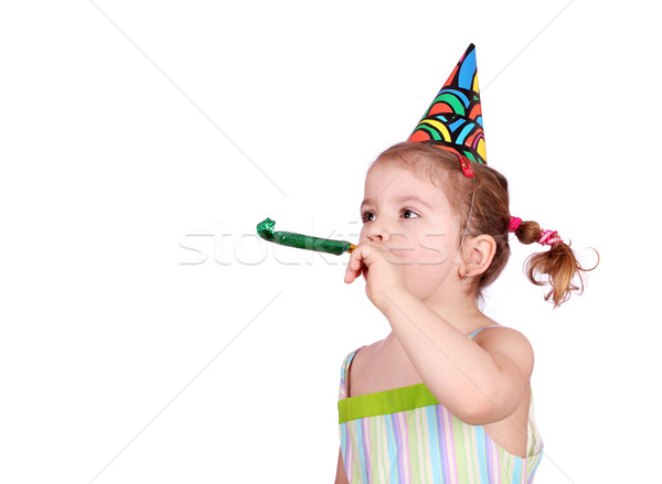 child with birthday hat on white  Stock photo © goce